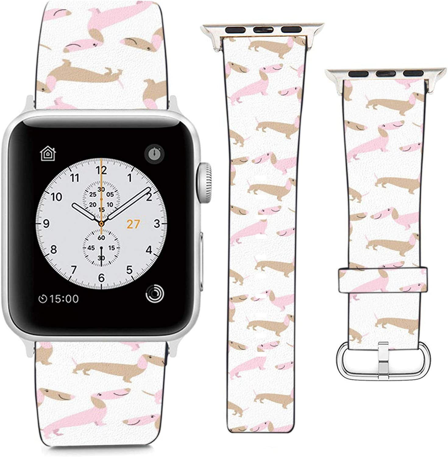Compatible with Apple Watch Wristband 38mm 40mm, (Pinky Dachshund Pattern) PU Leather Band Replacement Strap for iWatch Series 5 4 3 2 1