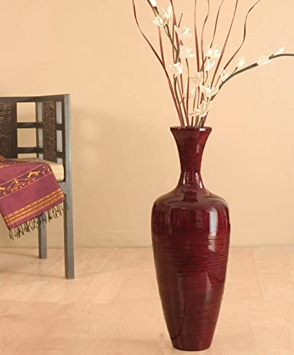 Amazon Greenfloralcrafts 27 Inch Slender Red Bamboo Floor Vase