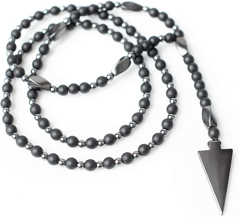 PerlaStyle Collar de Hombre con Piedra de Hematita Collar Rosario Unisex,para Cada Ocasión |ónix Negro Mate 6 mm Piedra de Hematita 4mm
