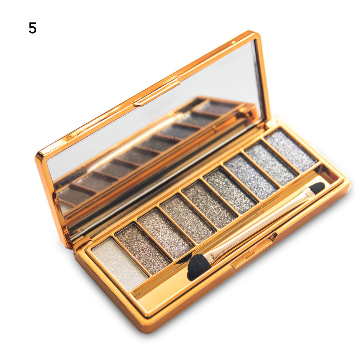 Sporthway Women 9 Colors Waterproof Make UP Glitter Eyeshadow Palette with Brush (Color 5)