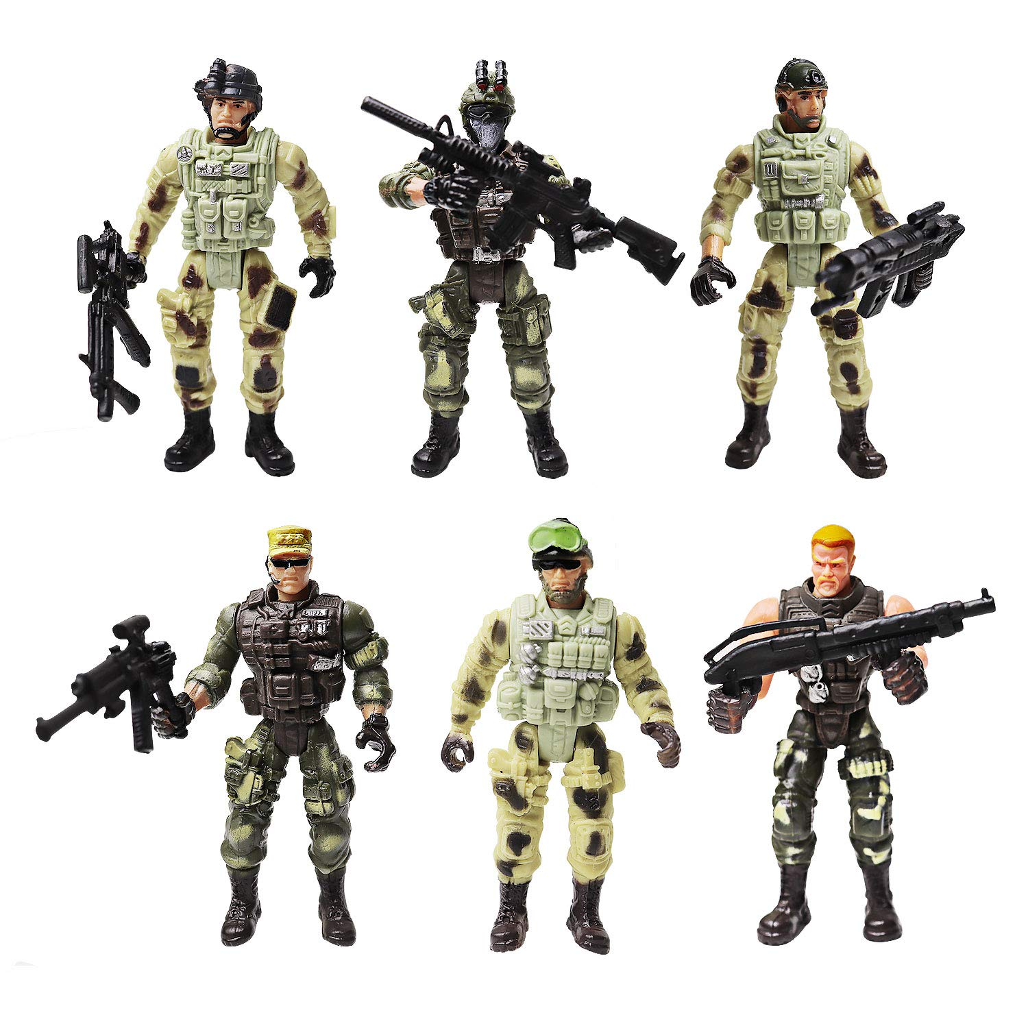 Army Men Action Figures Soldiers Toys with Weapon Accessories / SWAT Team Figure Military Playset for Boys Girls Children Kids 3 4 5 6 7 8 9 Years Old,Great as Christmas,Birthday(Special Troops)