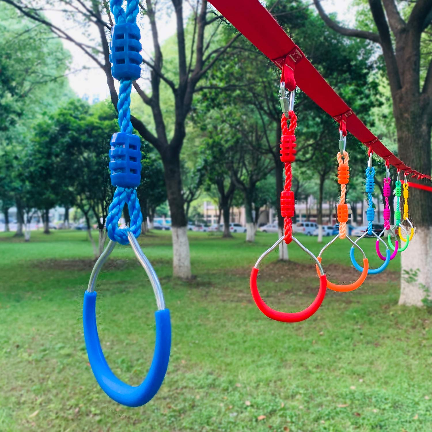 Rainbow Craft Swing Bar Rings - Colorful Backyard Outdoor Gymnastic Ring, Ninja Ring, Monkey Ring, Climbing Ring and Obstacle Ring- 7 pcs Pack by Rainbow Craft (Image #3)