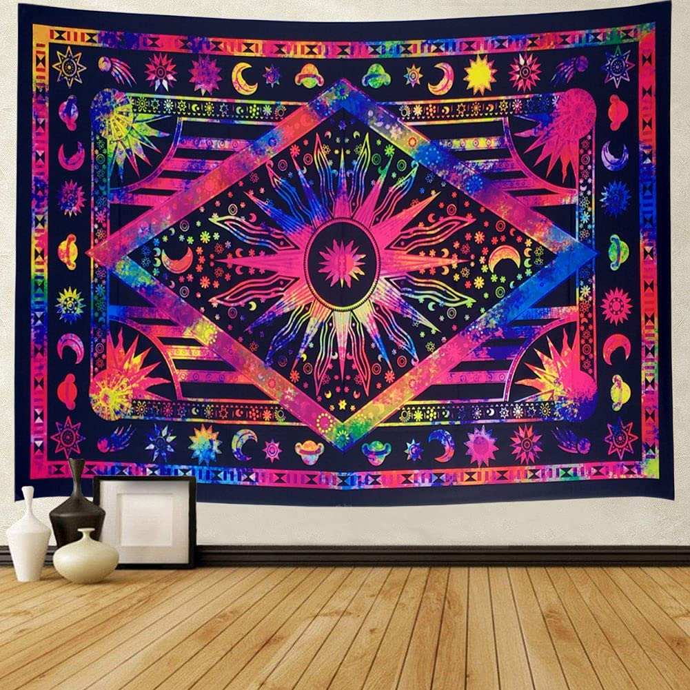 Obsecolors Psychedelic Celestial Sun and Moon Tapestry Planet Star Tie Dye Tarot Tapestry for Bedroom Aesthetic Hippie Hippy Tapestry Wall Hanging Dorm Decor