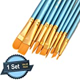 1 Set of 10 Pieces Synthetic Hair Paint Brushes, Blue, for Acrylic, Oil and Watercolor Painting