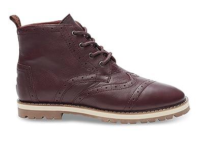 Amazon.com  TOMS Men s Brogue Boot Dark Brown Full Grain Leather  Shoes e4a9fc1e74