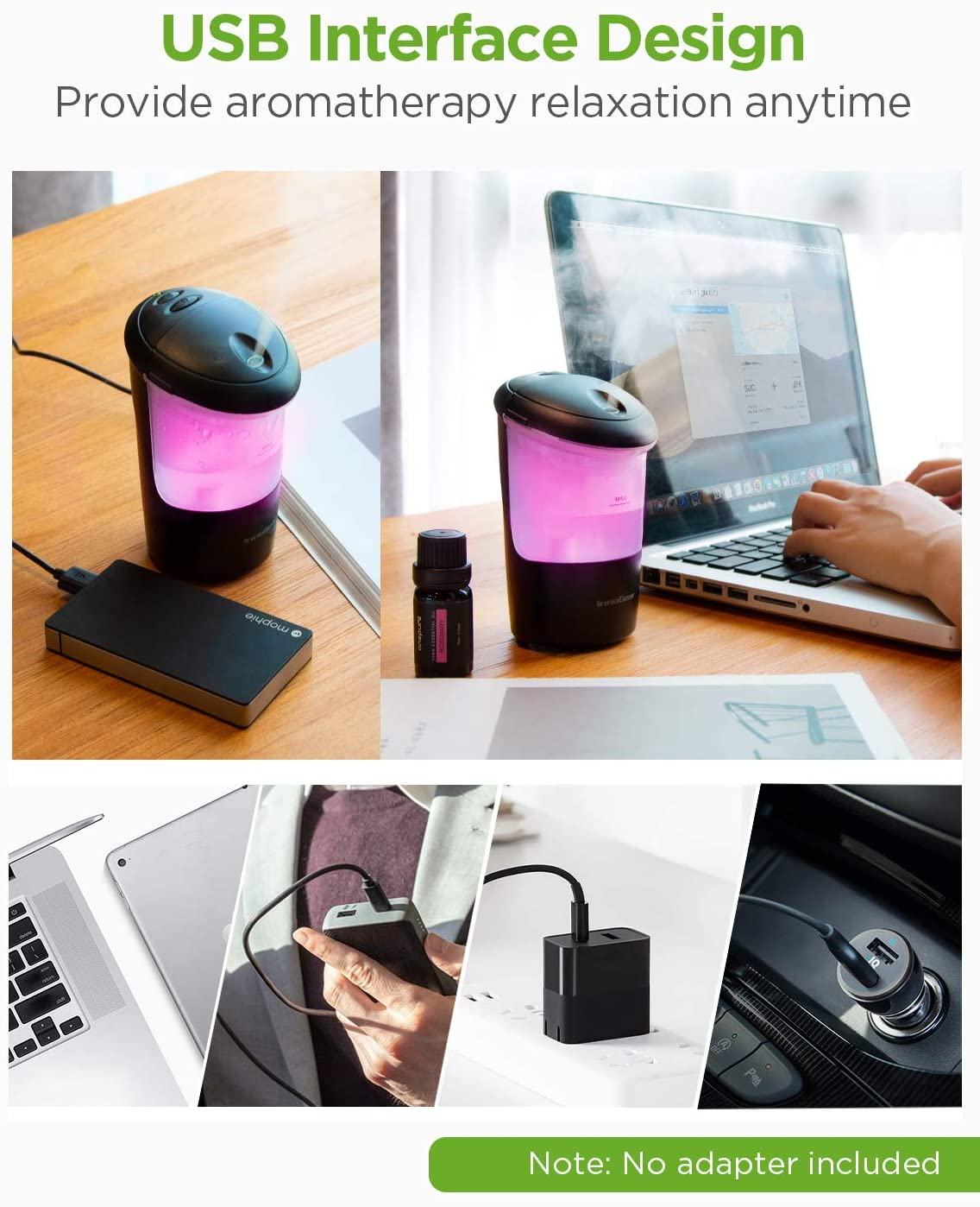 InnoGear Car Diffuser Black USB Essential Oil Diffuser Ultrasonic Car Humidifier Aromatherapy Diffusers with Intermittent//Continuous Mist for Office Travel Home Vehicle