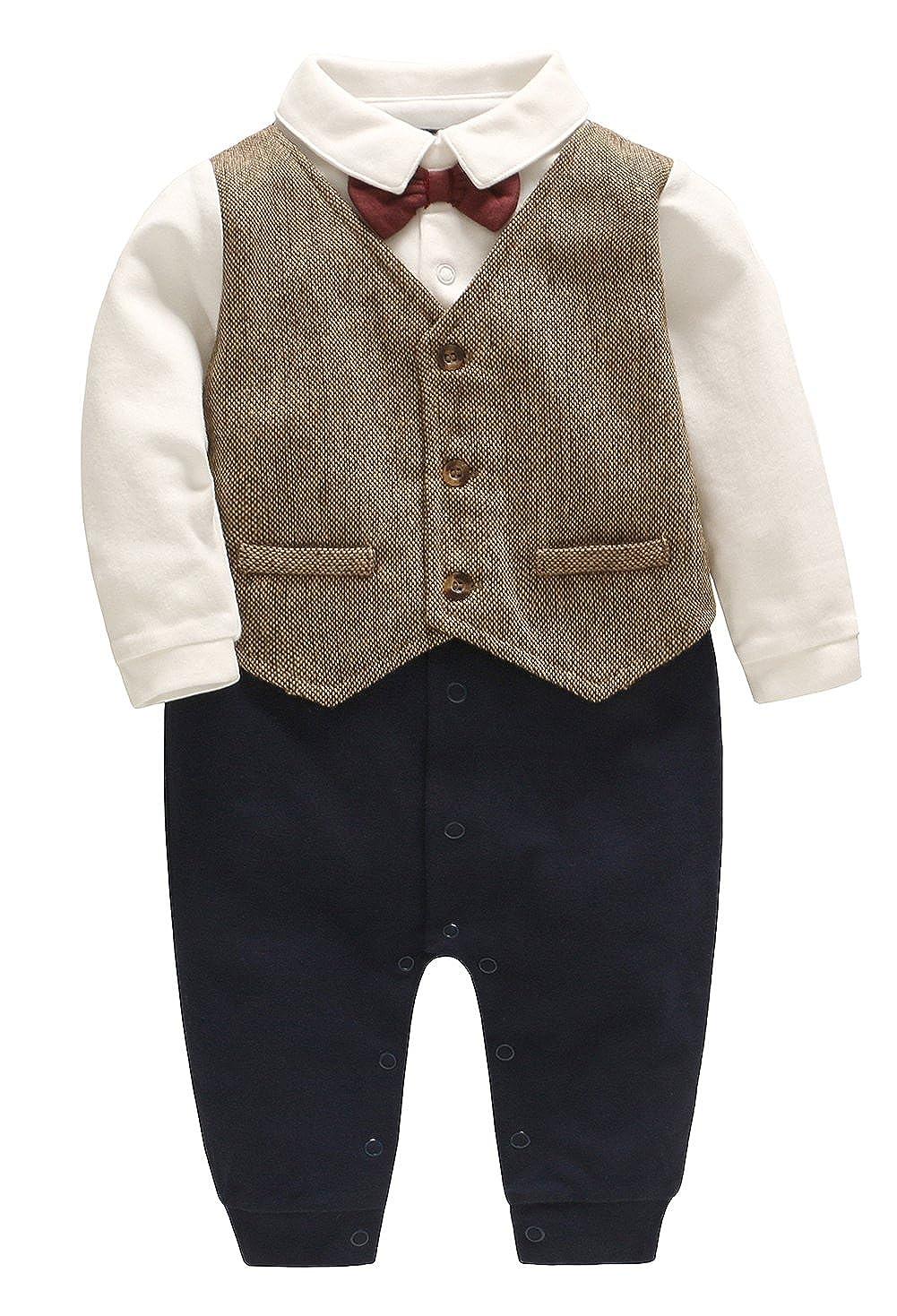 Amplaue 1 tlg Baby Strampler Smoking für Jungen Kleinkind Kleidung Rompers Body Kleidung Gentleman Baumwolle Langarm Bowknot Plaid Streifen Drucke Anzug Taufe Hochzeit Anlass APCLX227