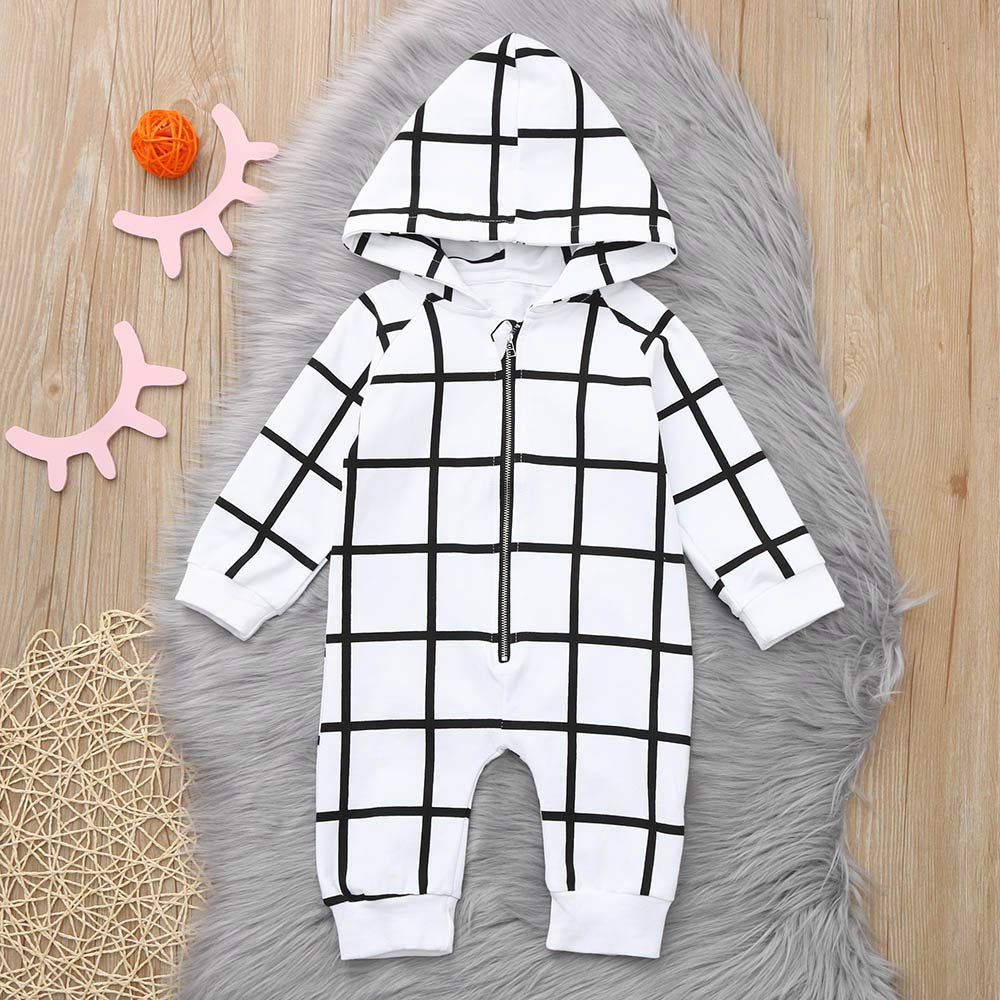 9b12b89147a4 ... Winter Jumpsuit Outfit Newborn Baby Boys Girls Striped Printed Hoodie  Long Sleeve Romper Bodysuit Clothes ...