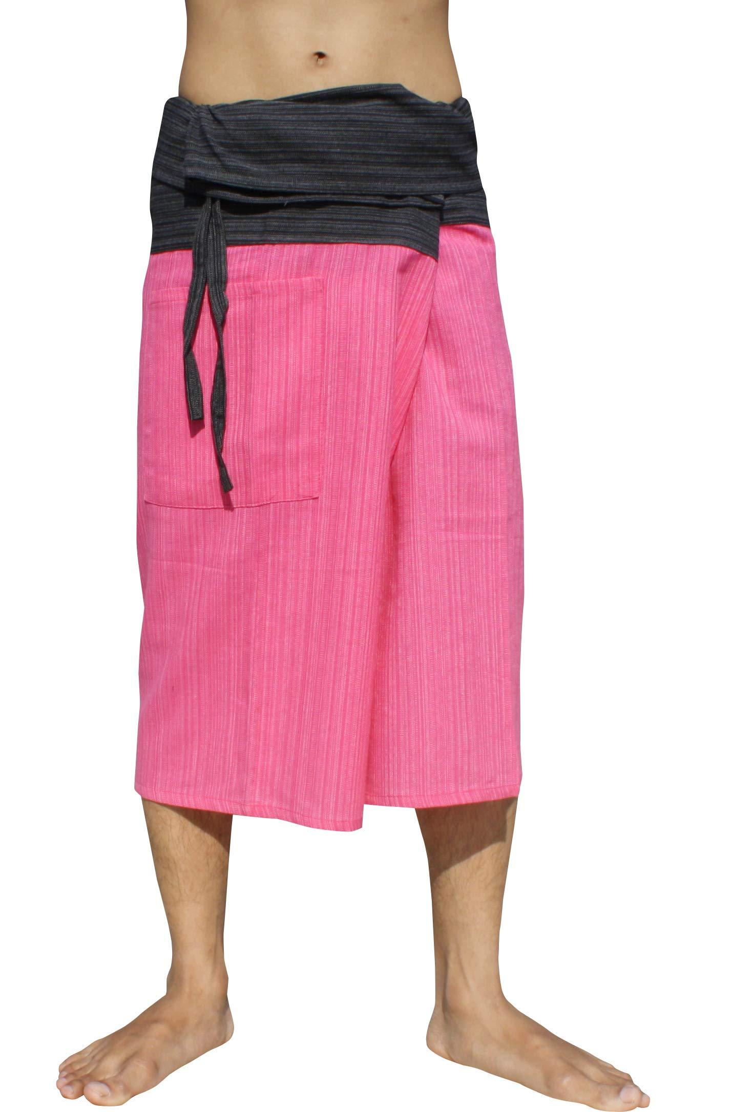 Raan Pah Muang Thin Striped Cotton Two Tone Fisherman Capri Wrap Plus Sized Pants, XX-Large, Black - Pink by Raan Pah Muang