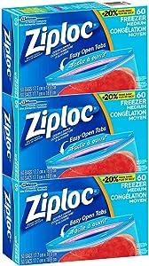 "Ziploc Medium Quart Size (6.96"" x7.40"") Freezer Storage Bags Easy Open Tabs - 180 Bags, 3 PK x 60 Bags"