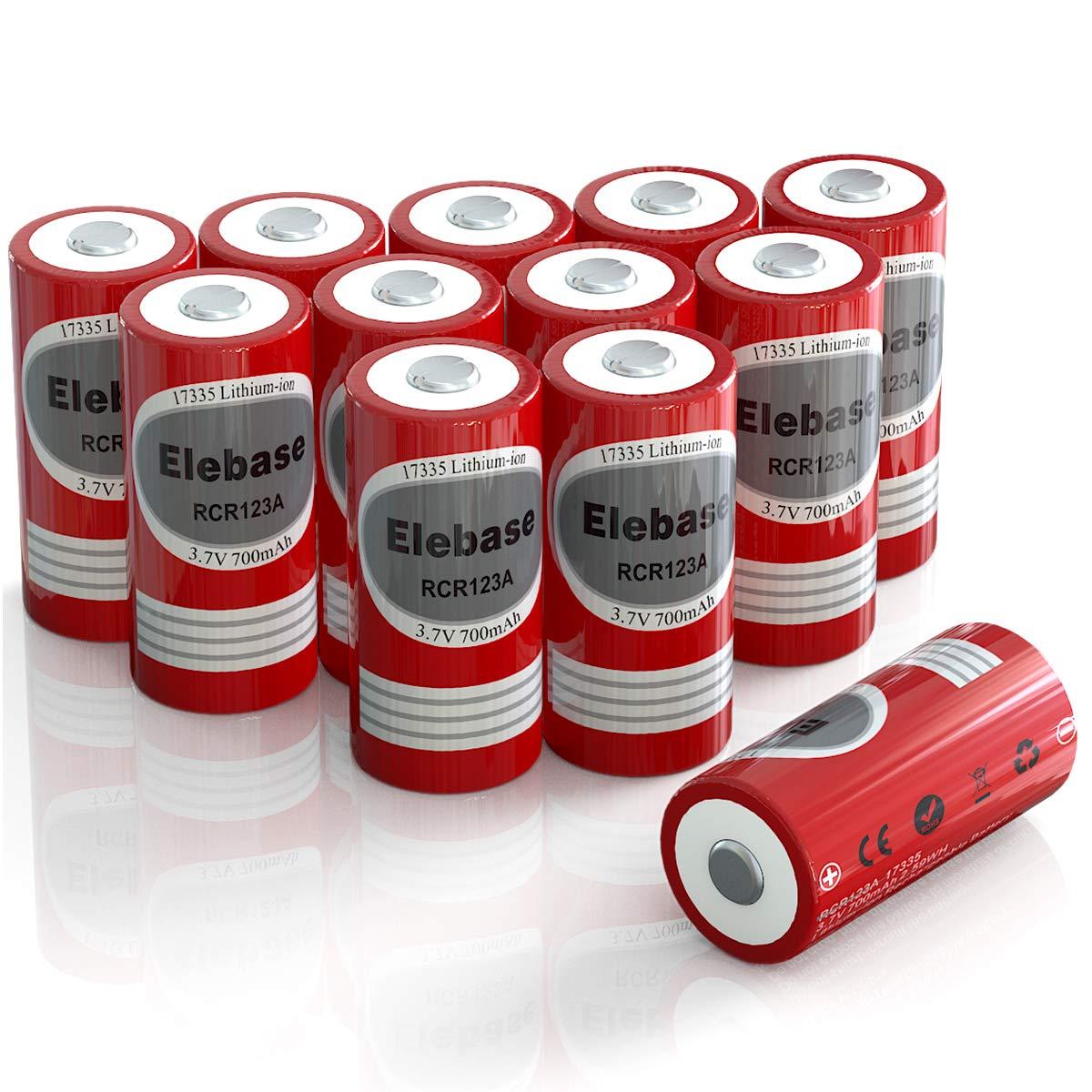 Elebase RCR123A Rechargeable Batteries, 12-Pack 3.7V 700mAh CR123A Rechargeable Batteries for Arlo Cameras (VMC3030/VMK3200/VMS3330/3430/3530) (Red)