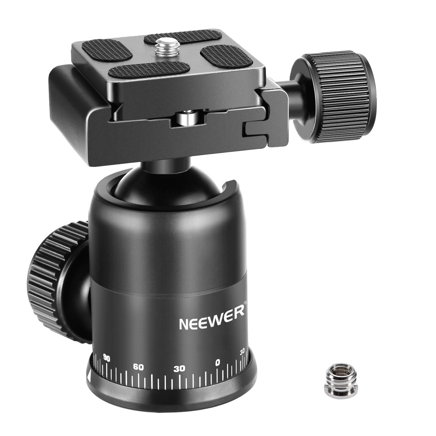 Neewer Camera Tripod Ball Head 360 Degree Rotating Panoramic with 1/4 inch Quick Shoe Plate, Bubble Level for DSLR Camera Camcorder Tripod Monopod, Slider up to 11 pounds/5 kilograms (Aluminum Alloy) 10090777