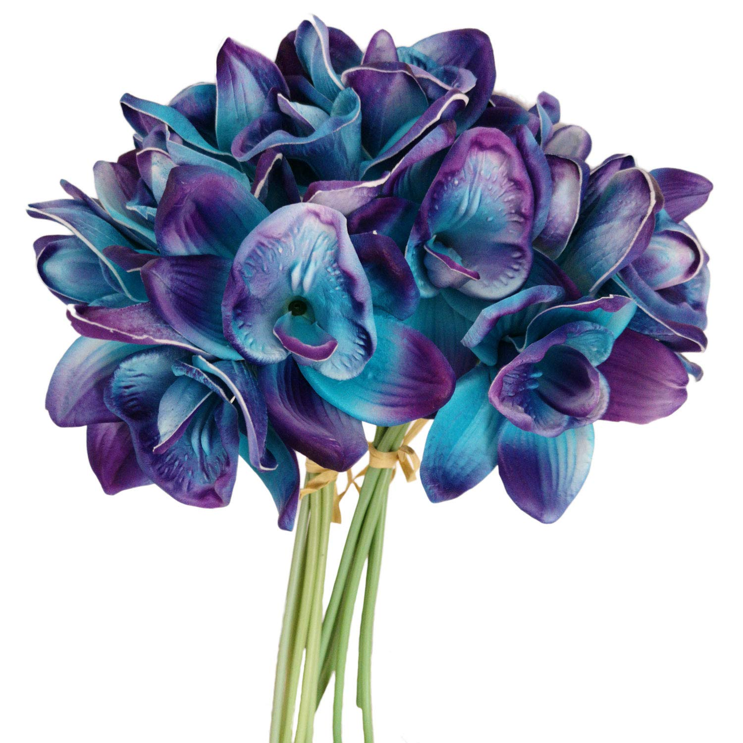 Lily Garden Artificial Flowers Purple Turquoise Orchid Stem Real Touch Flowers Set of 12 Stems by Lily Garden