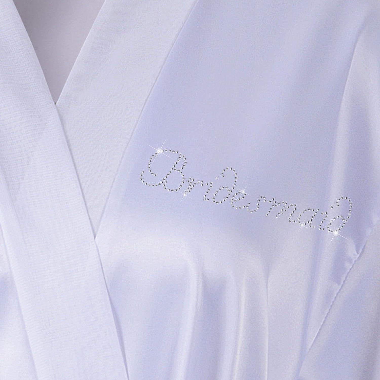 Albornoz personalizado de luna de miel diamantes sint/éticos y Sat/én blanco Blanco