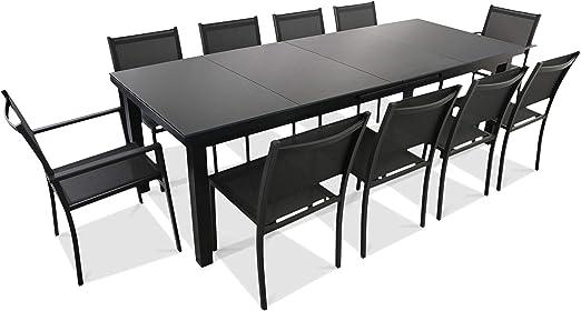 Oviala - Conjunto de Mesa de jardín Extensible de 256/320 cm y 10 sillas, Gris: Amazon.es: Jardín