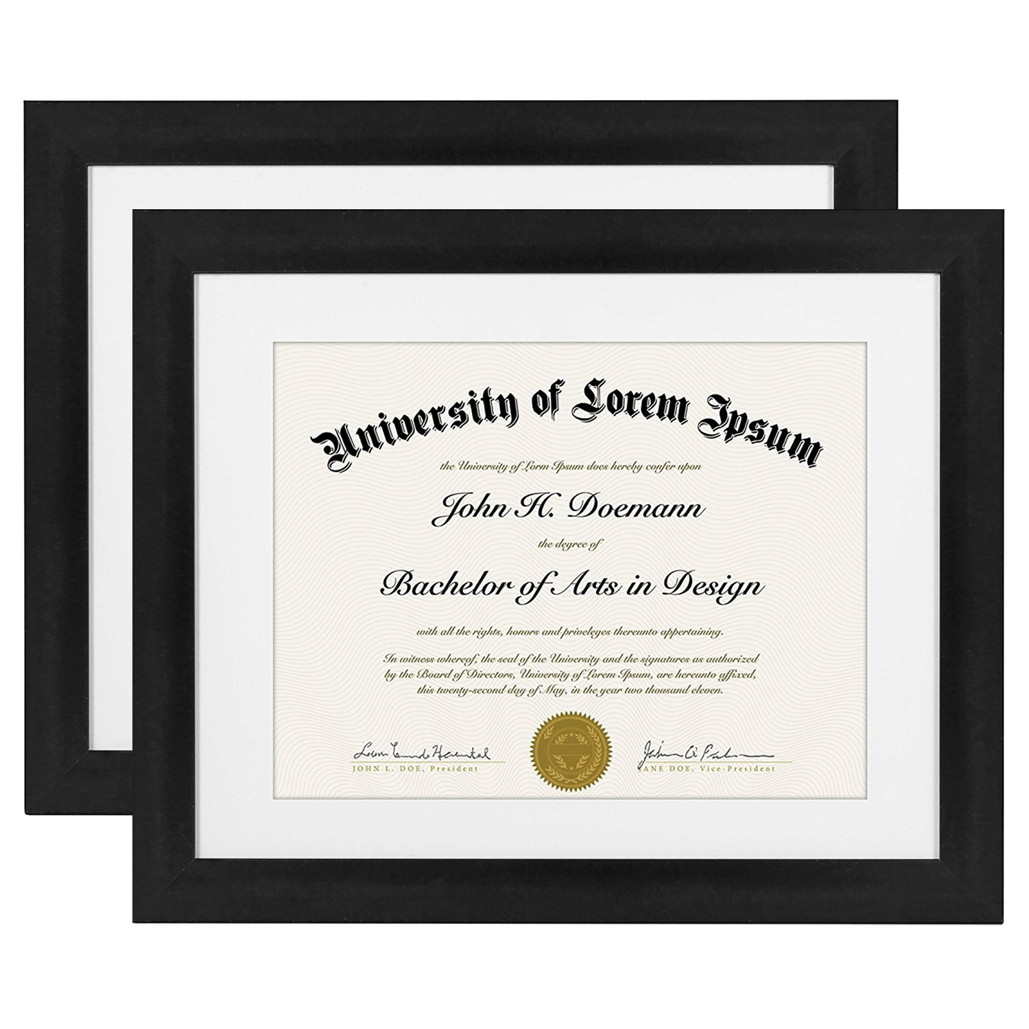 Americanflat 2 Pack - 11x14 Black Document Frames - Display Documents 8.5x11 with Mats - Display Documents 11x14 Without Mats