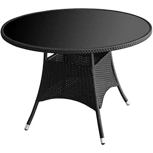 Outsunny - Mesa redonda con tablero de cristal negra 105 x 73 cm ...