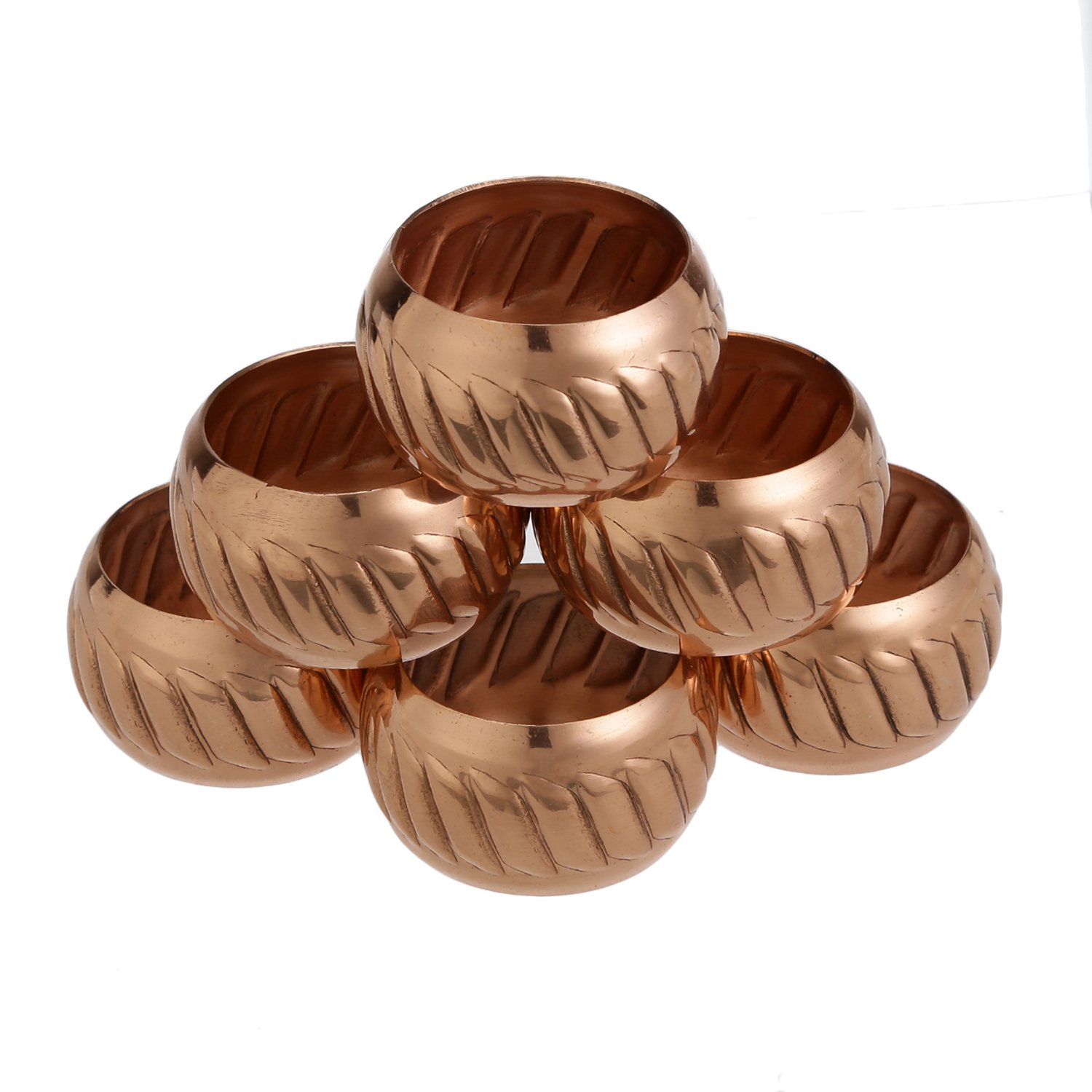 ShalinIndia Copper Napkin Rings Holder Weddings,Dinners, Parties Everyday Use, Set of 6,Light Weight 40 Grams,Diameter-1.5 Inch Shalincraft MN-copper-NR-101-S6