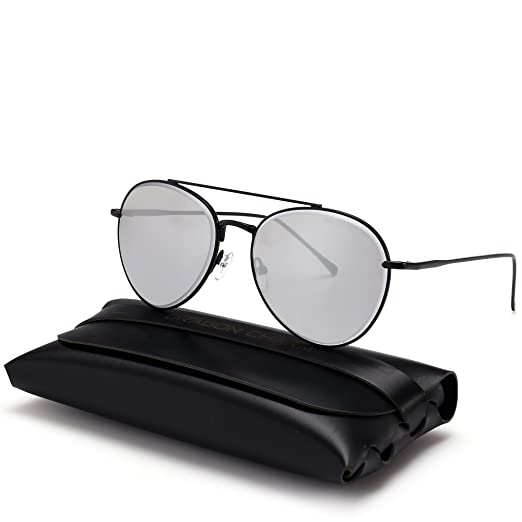 79f1f2a58e DRAGON CHARM Unisex Classic Aviator Sunglasses Color Mirrored Lens Metal  Frame White Reflective with Black
