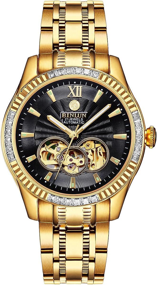 BINLUN Men s Automatic 18K Gold-Plated Watch Luminous Luxury Skeleton Waterproof Watches