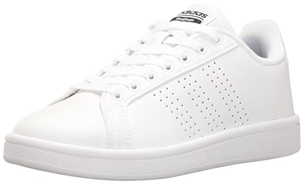 adidas Women's Cloudfoam Advantage Shoe Sneakers, White Dot Stripe, ((6.5 M US)