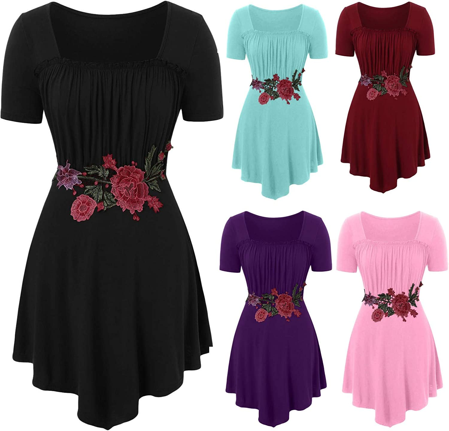 YOcheerful Plus Size Women Tops Embroidery Applique O-Neck Short Sleeve Loose T-Shirt Elegant Blouses