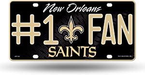NFL New Orleans Saints #1 Fan Metal License Plate Tag