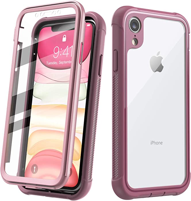 Justcool Designed for iPhone XR Case, Clear Full Body Heavy Duty Protection with Built-in Screen Protector Shockproof Rugged Cover Designed for iPhone XR Cases (2018) 6.1 Inch (Pink)