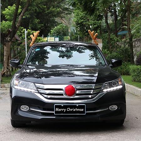 17 Coogam Christmas Reindeer Antler and Nose Vehicle Costume Rudolf Red Nose Elk Moose Holiday Xmas Decoration for Car Truck