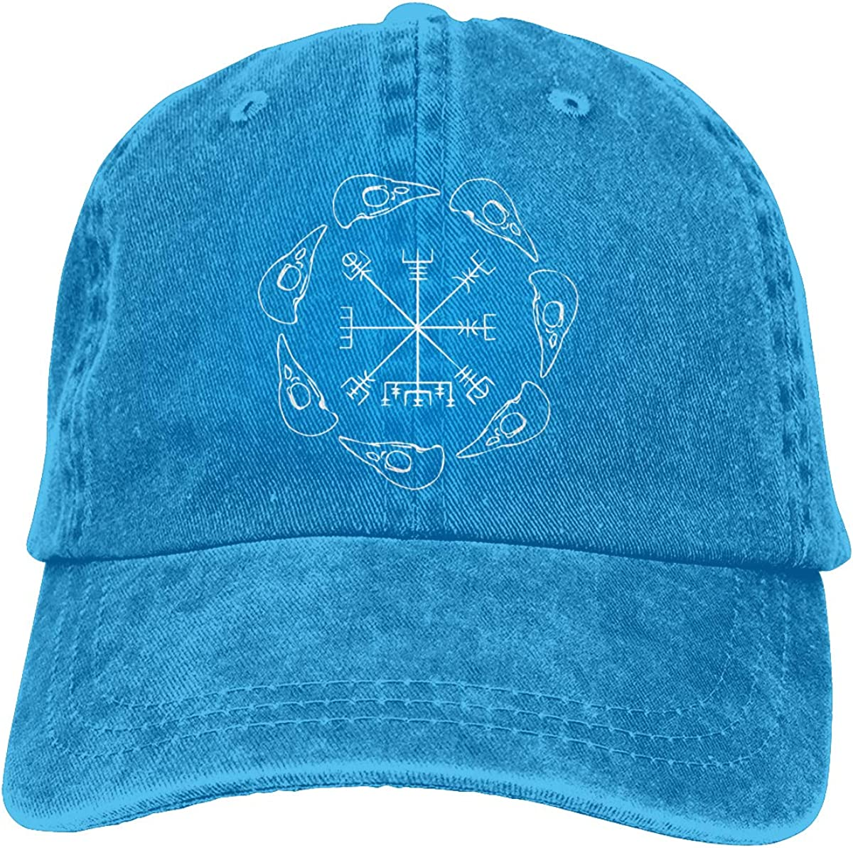 TBVS 77 Men Women Adjustable Yarn-Dyed Denim Baseball Cap Vegvisir Hiphop Cap