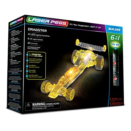 Laser Pegs Dragster 6-in-1 Building Set Building Kit; The First Lighted
