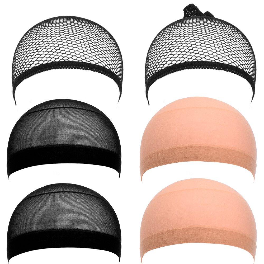 Estirable Elástico Redecillas Casquillo Peluca de Malla Nylon, Amarillento Desnudo Neutral y Negro, 6 Piezas eBoot
