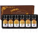Vsadey Oli Essenziali di Aromaterapia Set 6 x 10 ml Olio Essenziale per Diffusori 100% Puri e Naturale (Arancio Dolce, Lavanda, Albero del Tè, Menta Piperita, Citronella, Eucalipto)