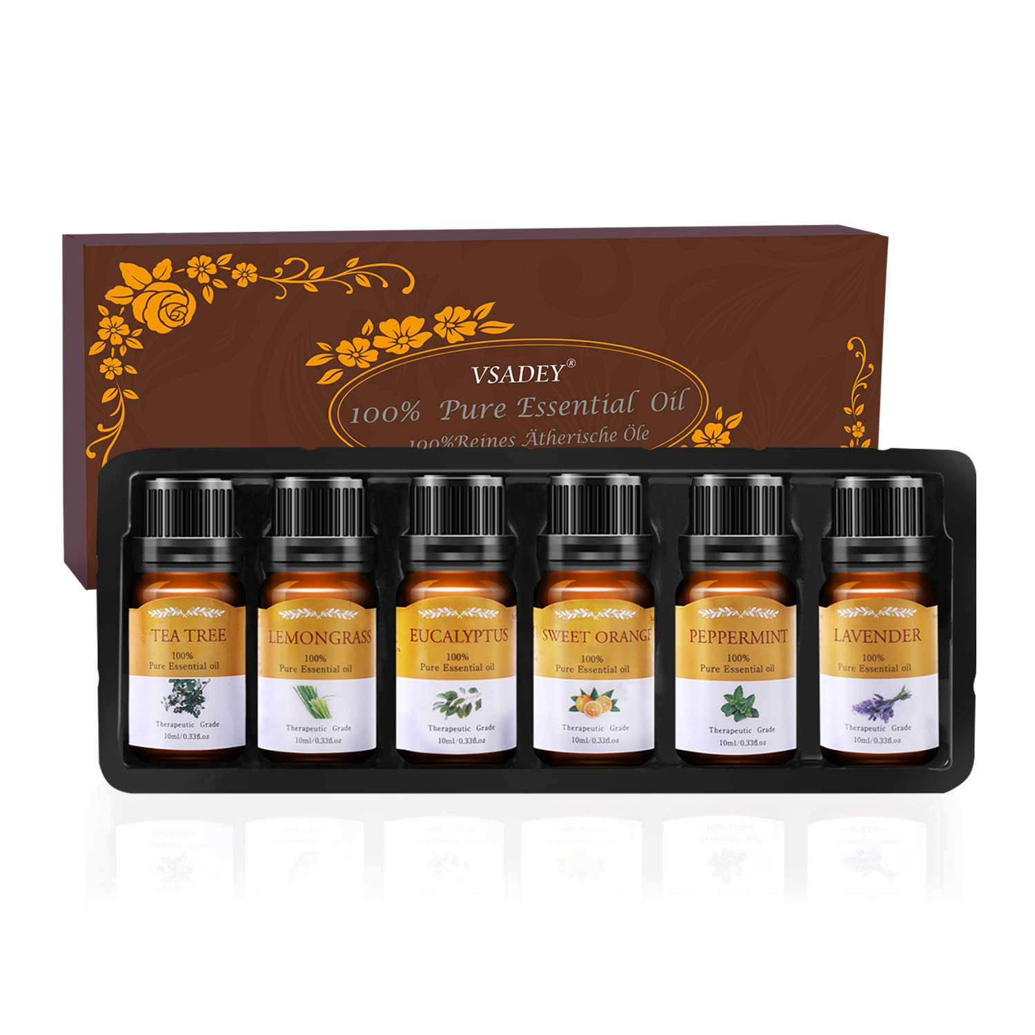 Vsadey Aromatherapy Essential Oils Set 6 x 10ml Blends Therapeutic Grade Oil 100% Pure and Natural (Sweet Orange, Lavender, Tea Tree, Peppermint, Lemongrass, Eucalyptus)