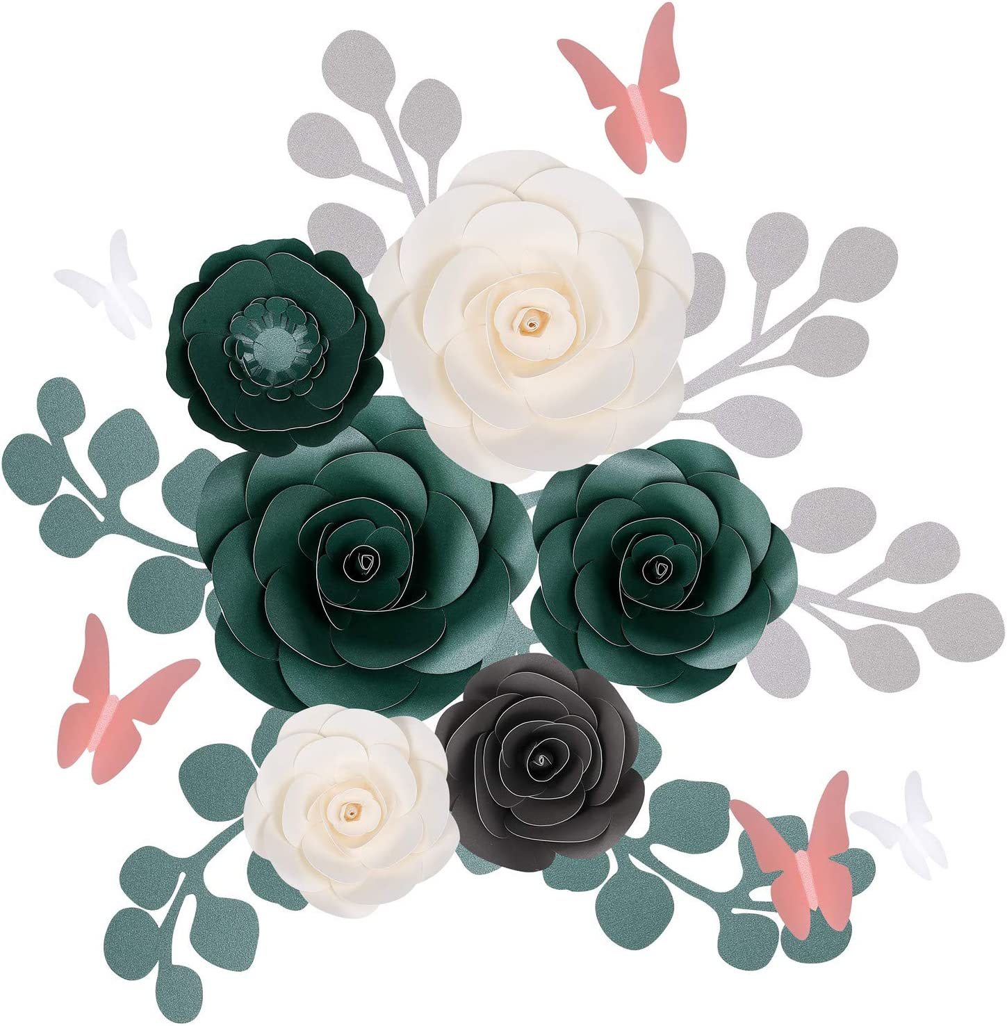 Fonder Mols Large 3D Paper Flowers Decorations for Wall (Eucalyptus Green & White, Set of 17), Wedding, Bridal Shower, Baby Shower, Nursery Decor, Centerpieces, Paper Roses Backdrop, Party, NO DIY