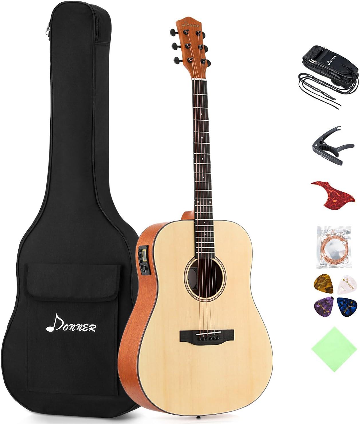 Donner dag-1e eléctrica de guitarra acústica tamaño completo 41 ...