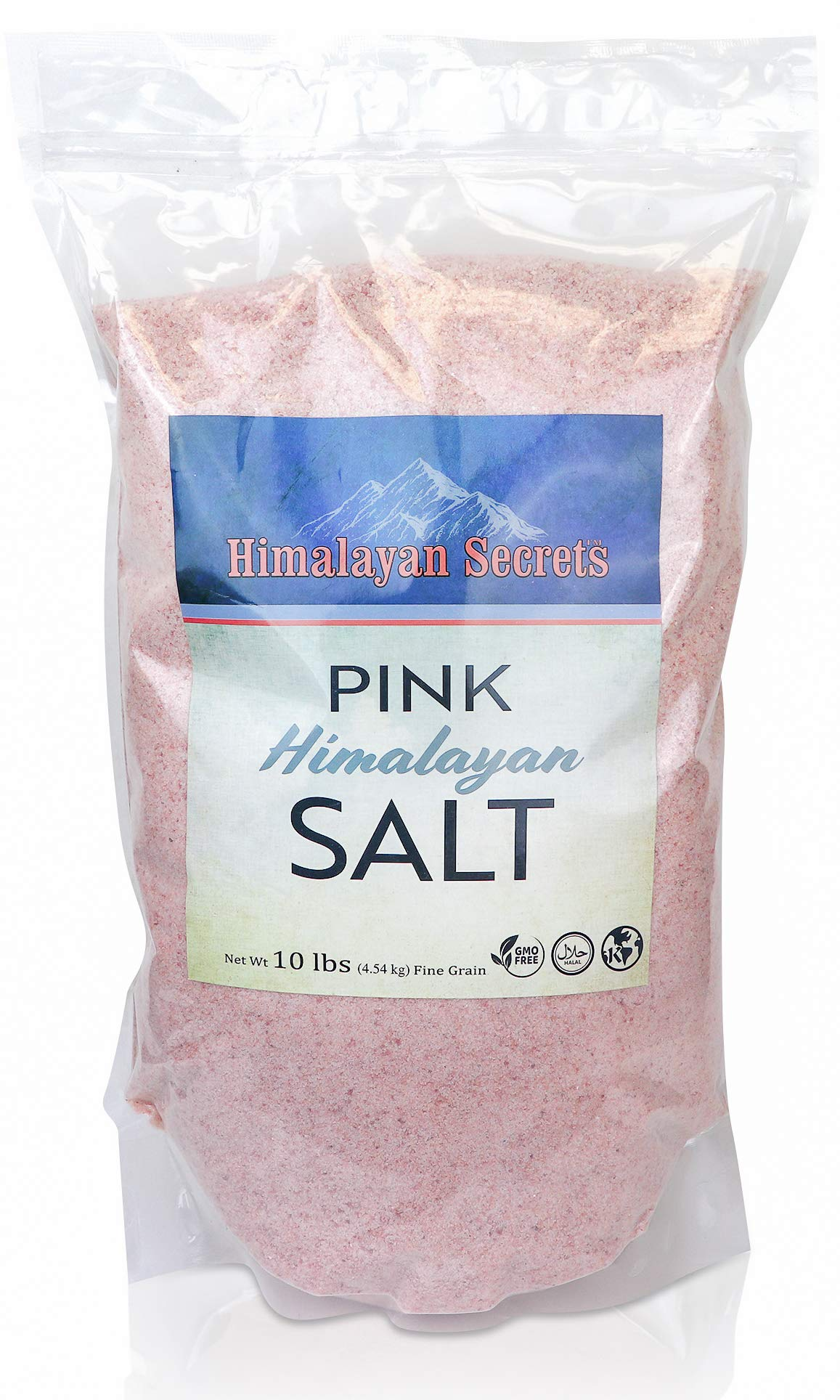 Himalayan Secrets Pink Rock Salt - 10LB - Coarse, Fine, Powder Grain Bulk Size - 100% Natural & Unrefined (Fine (0.3-0.5mm))
