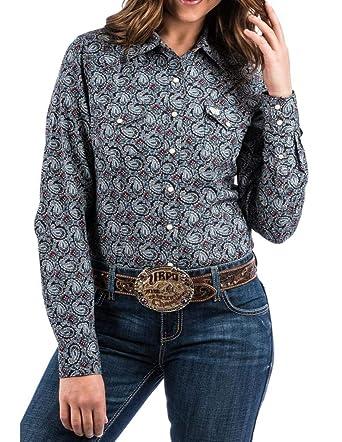 85075d09 Cinch Apparel Womens WSL Ladies Navy Print L/S Shirt at Amazon ...