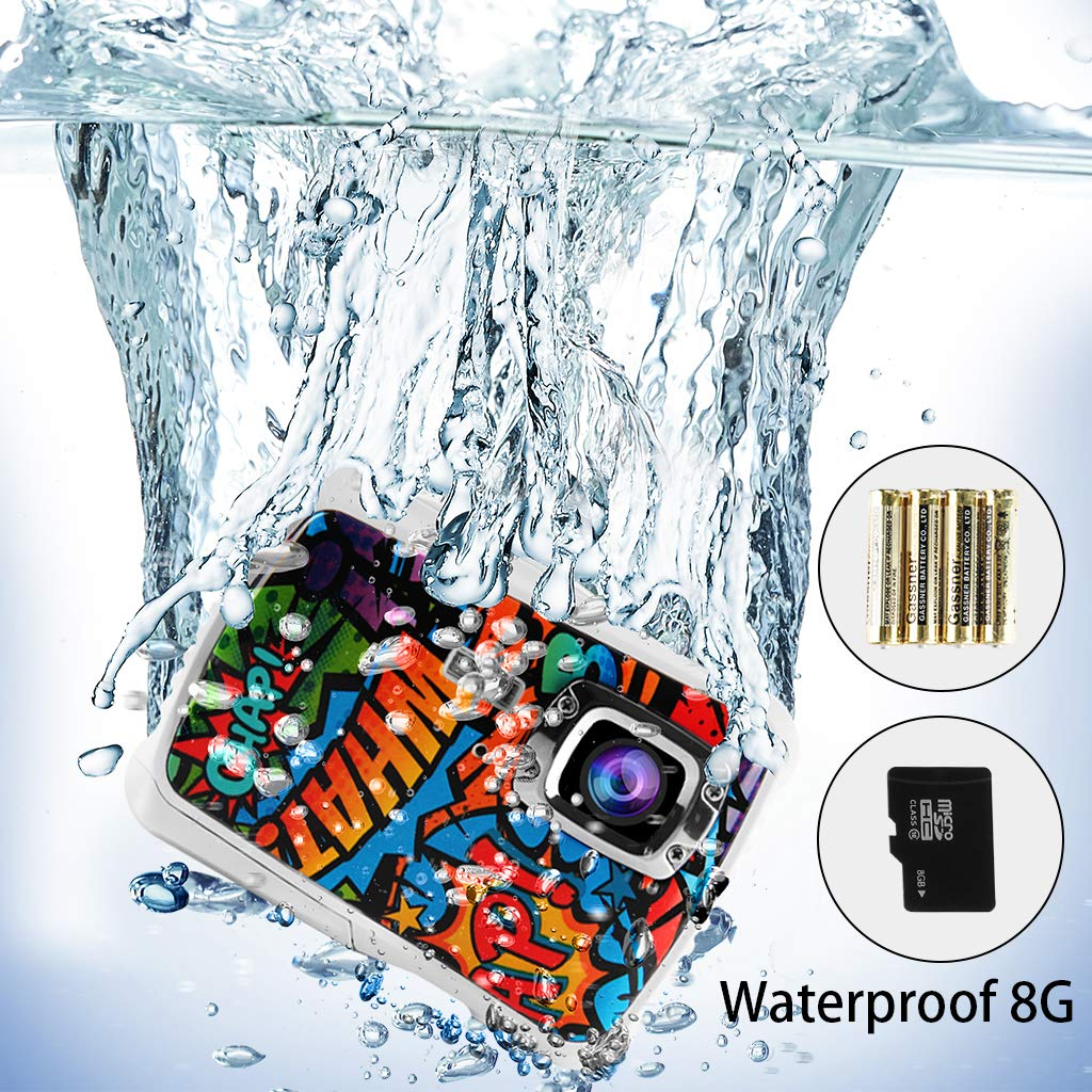 "Kids Waterproof Camera,Waterproof Mini Kid Camera Digital Underwater Camera for Boys and Girls, 12MP HD Action Sport Camcorder with 2.0"" LCD, 8X Digital Zoom, Flash, Mic and 8G SD Card."