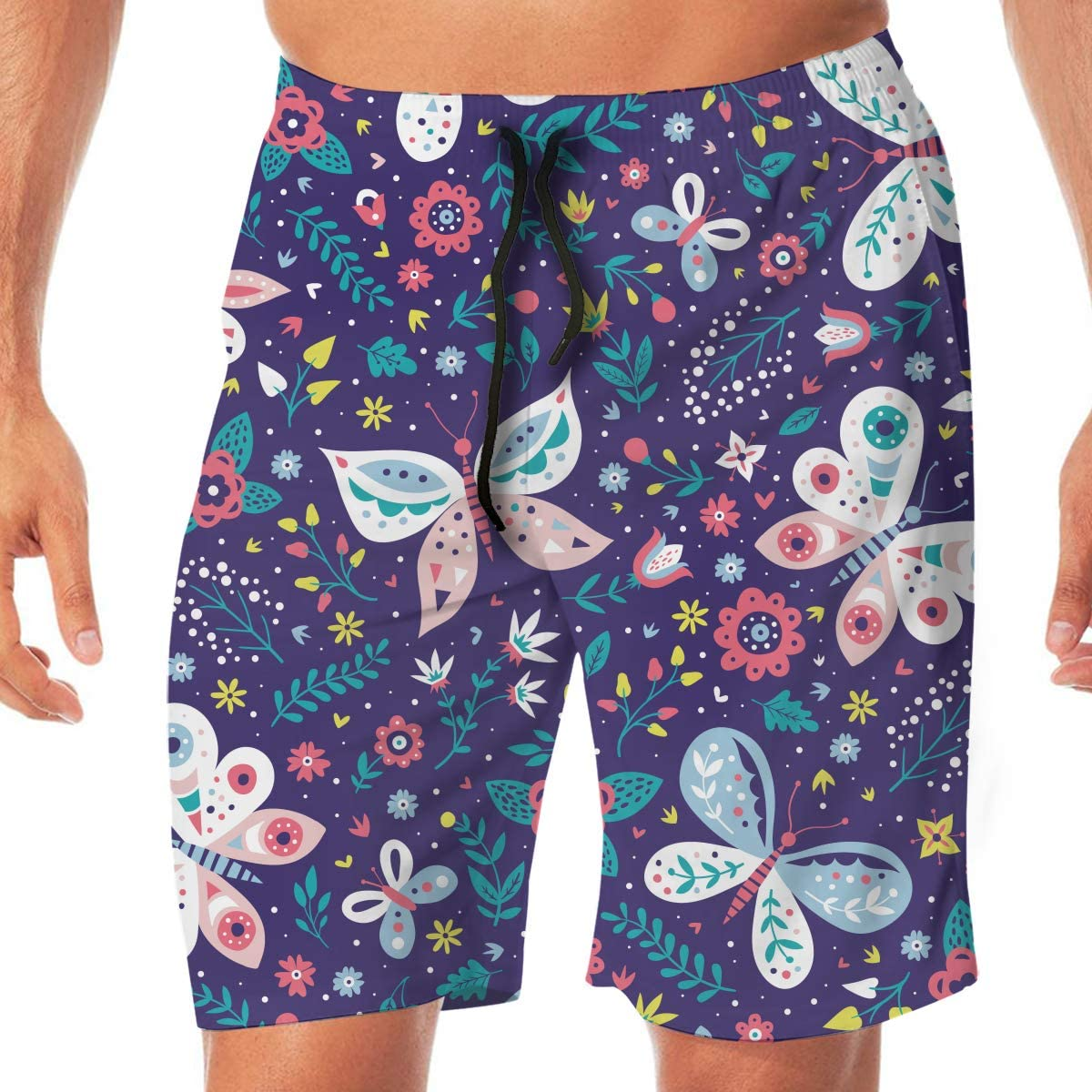 Flying XIE Butterflies and Flowers Mens Trendy Beach Shorts Surf Board Holiday Swim Trunks