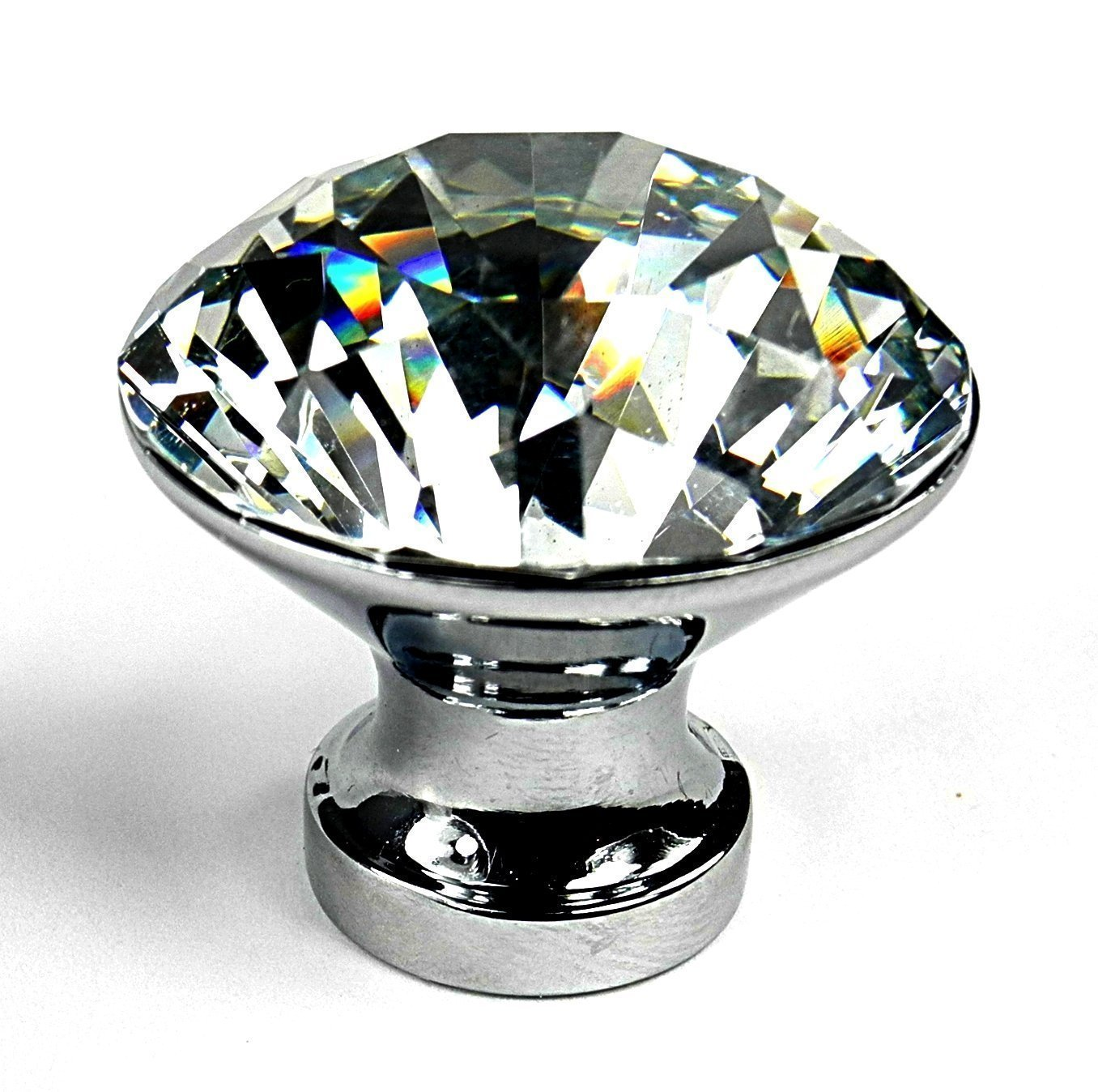 Crystal Glass Clear Cupboard Door / Drawer Knob Drawer Kitchen Silver (10, 30MM) KKMore