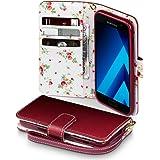 Galaxy A3 2017 Cover, Terrapin Handy Leder Brieftasche Case Hülle mit Kartenfächer für Samsung Galaxy A3 2017 Hülle Rot mit Blumen Interior