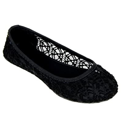 24af0776b Amazon.com | AMY Girls Cute Lace Crochet Ballet Flat Comfy Slip On Loafers  Ballerina Shoes | Flats