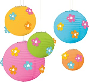 Amscan Sun-Sational Summer Luau Round Lanterns with Hibiscus Add-Ons (5 Pack), 12 X 11, Assorted Sizes, Multi Color