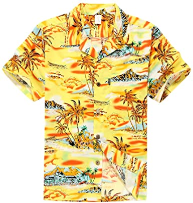 Hombres Aloha camisa hawaiana en Mapa y Paisajes Amarillo: Amazon.es: Ropa y accesorios