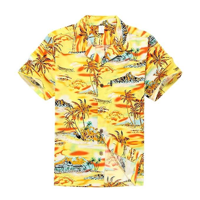 aff12bd7 Palm Wave Men's Hawaiian Shirt Aloha Shirt S Yellow Sunset Scenic Palm