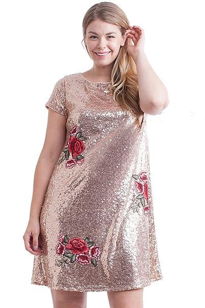 d1914bd852a Nyteez Women s Plus Size Metallic Sequin Dress with Rose Applique ...
