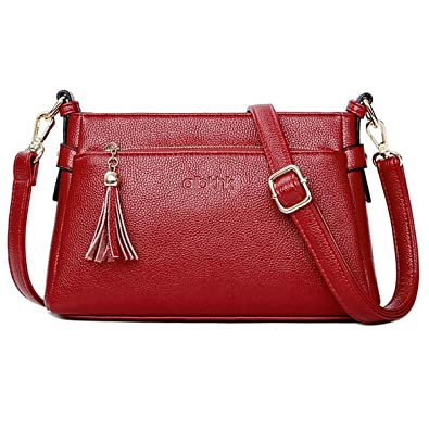 0246d640144 Women's Genuine Leather Tote Shoulder Bag, Ladies Crossbody Casual Handbag  Purses Fashion Messenger Bag with Strap for Women
