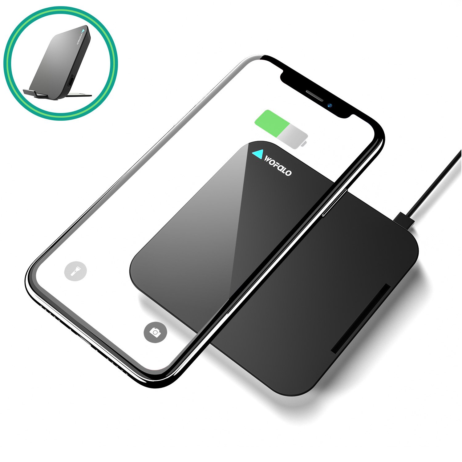 Wireless Charger 2 in 1 Qi Charging Pad Stand, Wofalodata Fast Wireless Charger for iPhone 8 / 8 Plus, iPhone X, Galaxy S9 S9 Plus Note 8 /S8 / S8 Plus, Note 5, S6 Edge+, S6, S6 Edge, S7 Edge (Small & Portable)