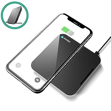 Wofalo Cargador inalámbrico rápido para Samsung Galaxy Note 8/S9/S9 Plus/S8/S8+/S7/S6 Edge+/Note 5, QI inalámbrico estándar cargador para iPhone 8/8 ...